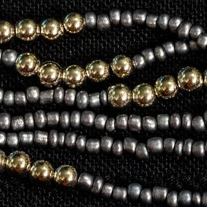 "36"" Matte Silver and Gold Multi Strand Necklace"